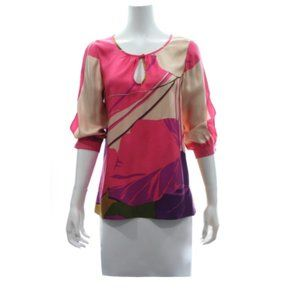 TIBI SILK BLOUSE WITH ABSTRACT PRINT SIZE SMALL